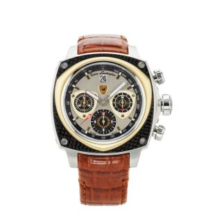 【Tonino Lamborghini】林寶堅尼  自動碳纖維黃K灰面黑圈皮帶腕錶