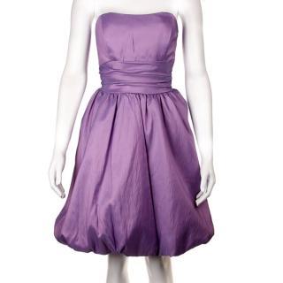 【摩達客】美國進口Landmark無肩帶浪漫紫緞面泡泡裙派對小禮服/洋裝(含禮盒)