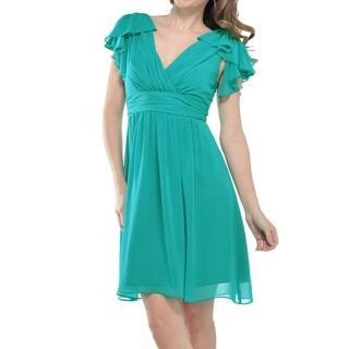 【摩達客】美國進口Landmark雙邊荷葉袖浪漫紗裙土耳其藍派對小禮服/洋裝(含禮盒)