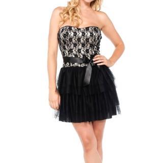 【摩達客】美國進口Landmark 性感浪漫蕾絲篷紗裙派對小禮服/洋裝(含禮盒/附絲巾)