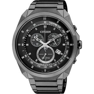 【CITIZEN】Eco-Drive METAL 專屬型男計時腕錶-IP黑(AT2155-58E)
