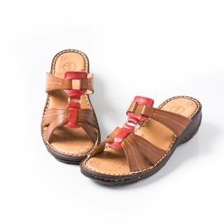 【ALAIN DELON】百搭真皮舒適拖涼鞋W8358(2色 咖啡色 紅色)