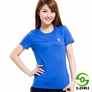 【LOKI】女 VANA 圓領抗UV短袖排汗衣(炫目藍)