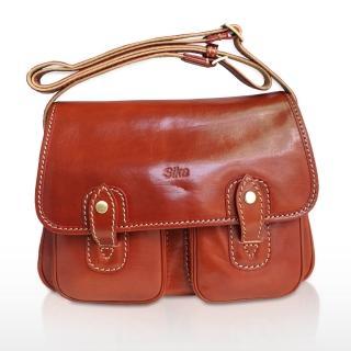 【Sika】雙口袋磁釦斜側背牛皮書包(M6009-01)