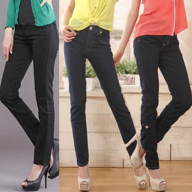 【RH】視覺顯瘦-3公斤牛仔長褲三件組(深藍加淺藍加黑色)