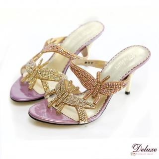 【Deluxe】浪漫巴黎.翩翩雙蝴蝶水鑽高跟涼鞋(★粉)