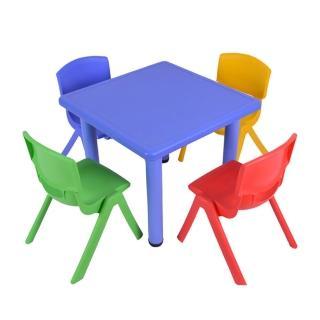 【WASHAMl】韓式撞色多彩兒童遊戲桌椅(一桌四椅-附學習圖案版)