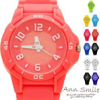 【微笑安安】星星立體數字馬卡龍色彩防水膠錶(共14色)