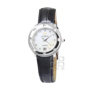【Emilio Valentino】范倫鐵諾香水仕女皮帶腕錶(圓形白貝)