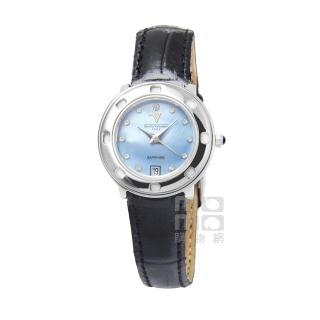 【Emilio Valentino】范倫鐵諾香水仕女皮帶腕錶(圓形藍貝)