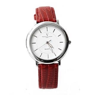 【范倫鐵諾˙古柏】極簡時刻 銀色刻度皮革手錶對錶 真皮錶帶