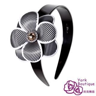 【約克精品】黑色冠珠海棠施華洛元素晶鑽(手工髮箍 髮飾)