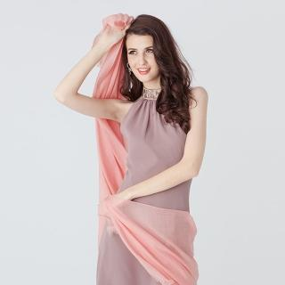 5TH AVE 全球限量300支紗Shahmina穿戒披肩(甜美蜜桃)