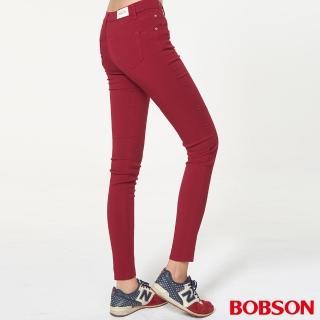 【BOBSON】女款高腰彩色強彈力緊身褲(紅8088-13)