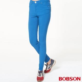 【BOBSON】女款高腰彩色強彈力緊身褲(藍8088-53)