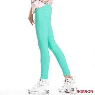 【BOBSON】女款彩色強彈力緊身褲(果綠8087-40)
