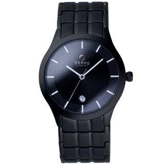 【OBAKU】視覺層次時刻日期腕錶(黑V101GBBSB)
