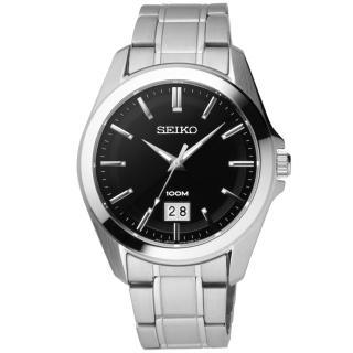 【SEIKO】榮耀時刻日期都會腕錶(鋼帶-銀黑 SUR009P1)