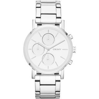 【DKNY】強眼定番都會三眼時尚腕錶(鋼帶-銀 NY8860)