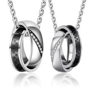 【GIUMKA】情人對鍊 真愛不變 情侶項鍊 珠寶白鋼鋯石   MN01652(黑色)