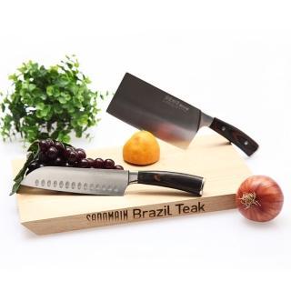 【仙德曼】柚木砧板-中+刀匠別作日式菜刀角型+三德刀-3件組
