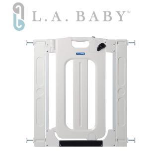 【美國 L.A. Baby】雙向自動上鎖安全門欄/圍欄/柵欄純白/米黃色(贈兩片延伸件)