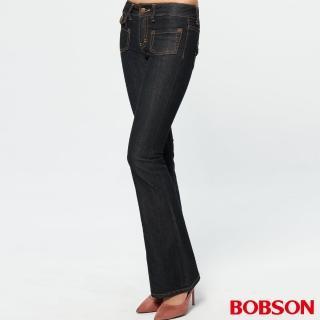【BOBSON】女款低腰貼口袋中喇叭牛仔褲(黑藍87)