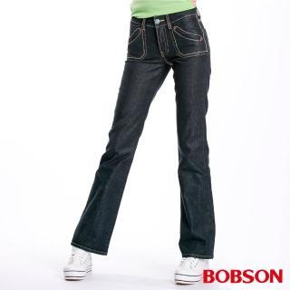 【BOBSON】女款貓鬚刷白釘珠小喇叭牛仔褲(黑87)