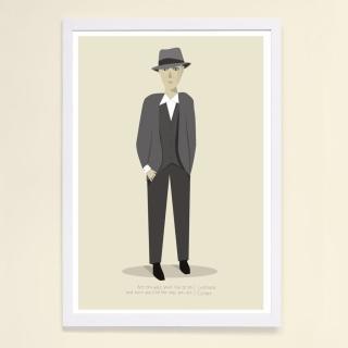 【摩達客】西班牙知名插畫家Judy Kaufmann藝術創作海報掛畫裝飾畫-李歐納柯恩(附簽名 含木框)