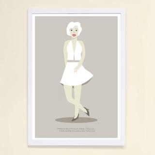 【摩達客】西班牙知名插畫家Judy Kaufmann藝術創作海報掛畫裝飾畫-瑪麗蓮夢露(附簽名 含木框)