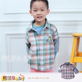 【魔法Baby】新潮有型假兩件格紋襯衫(k30303)