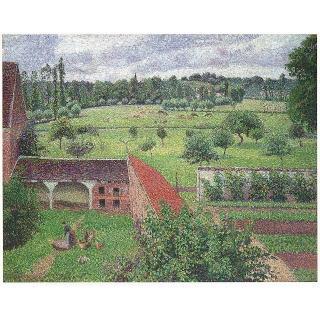 【開運陶源】Camille Pissarro卡密爾 畢沙羅 名畫(厄哈格尼  我窗外的景緻)