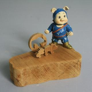 【荒木藝品雕刻】忍者豬memo架、名片架