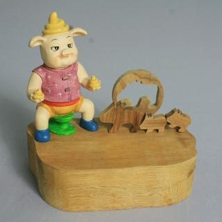 【荒木藝品雕刻】棒棒豬memo架、名片架