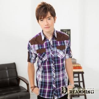 【Dreamming】剪接麂皮格子七分袖休閒襯衫