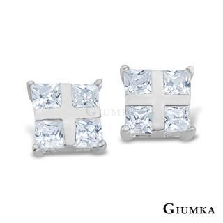 【GIUMKA】晶亮十字夾鑽耳環 925純銀 鋯石 抗敏耳針式耳環 MF00092-1(白色)