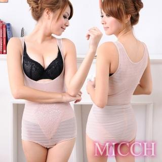 【MICCH】420丹彈力舒適機能防駝連身束衣(粉膚色)