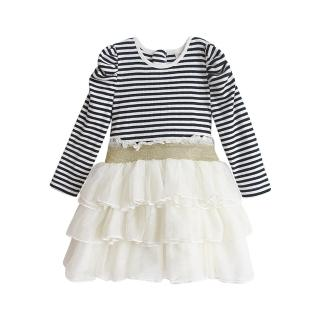 【BABY童衣】女童洋裝 條紋多層紗紗裙 假2件連身裙 37194(白色)