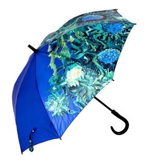 【雨傘詩人】名畫藝術系列 抗風抗UV全玻璃纖維自動直傘(梵谷-薊花系列)