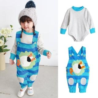 【baby童衣】藍獅子吊帶褲 2件套 包屁衣 37004(藍色)