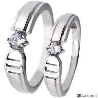 【E&I】-I DO- 316L白鋼時尚單鑽造型情侶對戒(單售款)