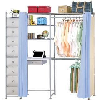 【巴塞隆納】E60型防塵伸縮電腦桌衣櫥架(附抽屜櫃)