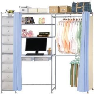 【巴塞隆納】E90型防塵伸縮電腦桌衣櫥架(附抽屜櫃)