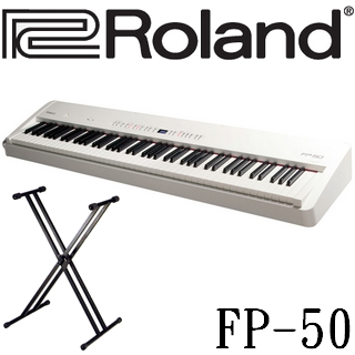 【Roland 樂蘭】88鍵數位鋼琴+雙叉琴架 台灣公司貨一年保固(FP-50)