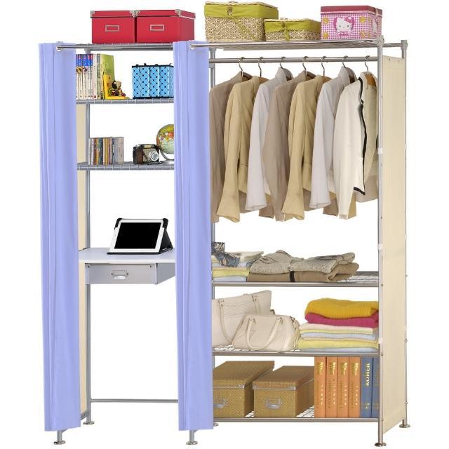 【巴塞隆納】W4型90公分+E60公分電腦桌衣櫥架