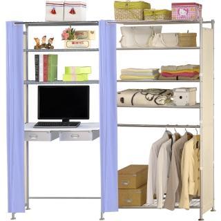 【巴塞隆納】W5型90公分+E90公分電腦桌衣櫥架