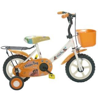 【Adagio】12吋酷樂狗輔助輪童車附置物籃(橘色)
