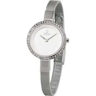 【OBAKU】小巧媛式晶鑽米蘭腕錶-銀色(V129LCIMC3)