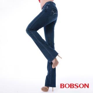 【BOBSON】女款膠原蛋白小喇叭褲(藍8085-53)
