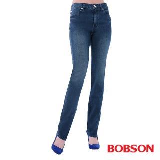 【BOBSON】女款高腰膠原蛋白直筒褲(藍8082-53)